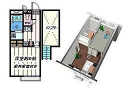 千葉県松戸市和名ケ谷の賃貸アパートの間取り