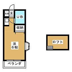 ニューアローズM1 2階ワンルームの間取り