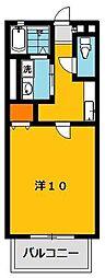栃木県宇都宮市五代3丁目の賃貸アパートの間取り