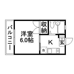 ホワイトコーポB[1階]の間取り