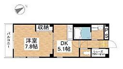 JR山陽本線 岡山駅 徒歩19分の賃貸マンション 1階1DKの間取り