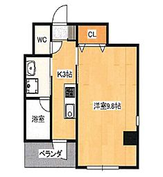 JR吉備線 備前三門駅 徒歩8分の賃貸マンション 4階1Kの間取り