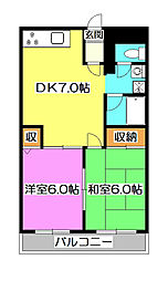 埼玉県所沢市北有楽町の賃貸マンションの間取り
