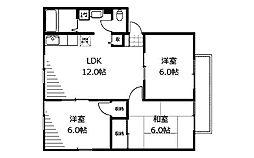 サンビレッジNOW D棟[1階]の間取り