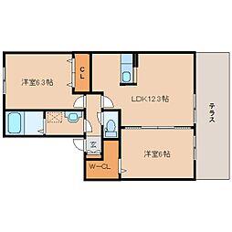 JR和歌山線 志都美駅 徒歩24分の賃貸アパート 1階2LDKの間取り