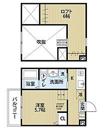 愛知県名古屋市中村区高道町6丁目の賃貸アパートの間取り