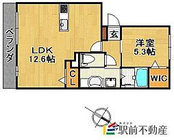 JR久大本線 久留米大学前駅 徒歩10分の賃貸アパート 3階1LDKの間取り
