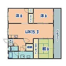 JR日豊本線 隼人駅 徒歩34分の賃貸マンション 1階3LDKの間取り