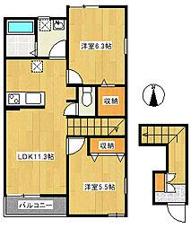 アークハウス平塚[202号室]の間取り