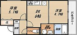 シャーメゾン朝日 2階2DKの間取り