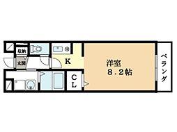 京都府京田辺市東西神屋の賃貸マンションの間取り
