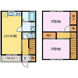 ラ・メゾン木津新[1階]の間取り