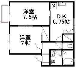 新潟県新潟市東区船江町1丁目の賃貸アパートの間取り