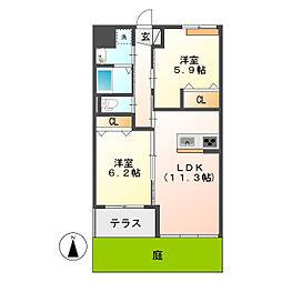 岡山県倉敷市東塚2丁目の賃貸アパートの間取り