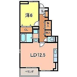 愛知県刈谷市小山町1丁目の賃貸アパートの間取り