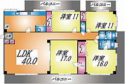兵庫県神戸市東灘区御影山手3丁目の賃貸マンションの間取り