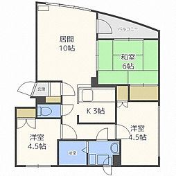 北海道札幌市白石区栄通19丁目の賃貸マンションの間取り