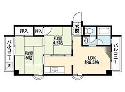 鶴町グリーンコーポ[5階]の間取り
