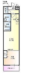 泉北高速鉄道 深井駅 徒歩14分の賃貸アパート 1階1LDKの間取り