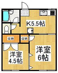 ハイネス小川[1階]の間取り
