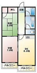 パークサイド扇[2階]の間取り