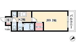 プレサンスジェネ鶴舞 7階1Kの間取り