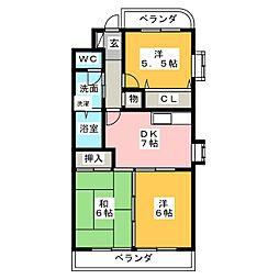 サザン名駅WEST[5階]の間取り