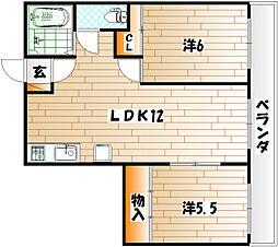 エステート足立[5階]の間取り
