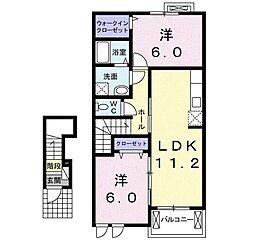 静岡県富士宮市山宮の賃貸アパートの間取り