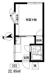 東京都目黒区五本木1丁目の賃貸アパートの間取り
