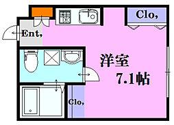 ソフィスコート吉島 1階ワンルームの間取り