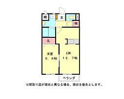 愛知県一宮市伝法寺5丁目の賃貸アパートの間取り