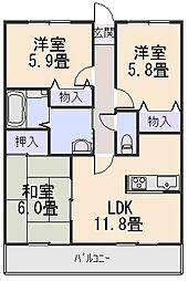 グランファミーユB[3階]の間取り