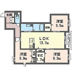 仮称 朝霞市幸町2丁目シャーメゾン[1階]の間取り