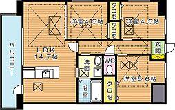 Fu-ton3黒崎(フートンスリー黒崎)[6階]の間取り
