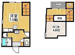 福岡県福岡市城南区別府7丁目の賃貸アパートの間取り