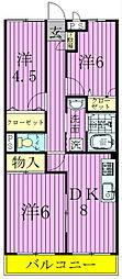 千葉県松戸市六実1丁目の賃貸アパートの間取り