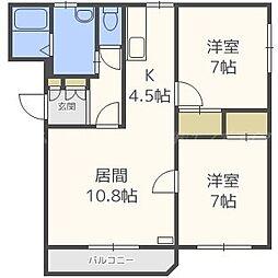 北海道札幌市東区北二十八条東10丁目の賃貸マンションの間取り