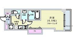 JR大阪環状線 芦原橋駅 徒歩2分の賃貸マンション 7階1Kの間取り