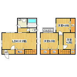 [一戸建] 茨城県つくば市島名諏訪 の賃貸【茨城県 / つくば市】の間取り