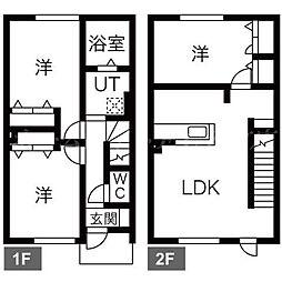 [テラスハウス] 北海道札幌市東区中沼西五条2丁目 の賃貸【/】の間取り