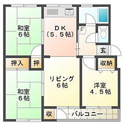 神陵台東住宅44号棟[5階]の間取り