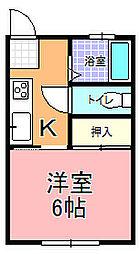 姫子ハイツ[201号室]の間取り