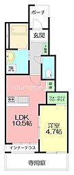 (仮称)平塚市南原アパート新築工事 1階1LDKの間取り