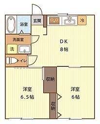 MSハイツ 1階2DKの間取り