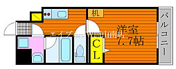 JR宇野線 大元駅 徒歩6分の賃貸マンション 1階1Kの間取り