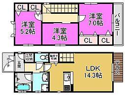 [一戸建] 大阪府堺市堺区北三国ヶ丘町7丁 の賃貸【/】の間取り