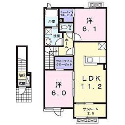 青森県十和田市西十六番町の賃貸アパートの間取り