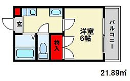 ロマン白木原[2階]の間取り