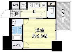 近鉄大阪線 大阪上本町駅 徒歩5分の賃貸マンション 3階1Kの間取り